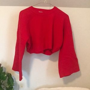 NASTY GAL Cropped Red Bell Sleeve Sweater